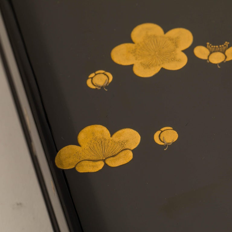 Wood Japanese Black Lacquer Document Box with Plum Blossom Design, Taisho Period For Sale