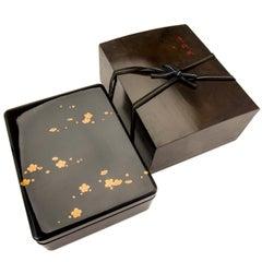 Japanese Black Lacquer Document Box with Plum Blossom Design, Taisho Period