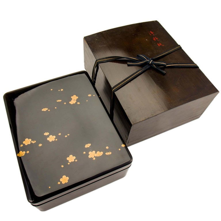 Japanese Black Lacquer Document Box with Plum Blossom Design, Taisho Period For Sale