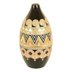Japanese Black Lacquer Vase with Carved and Gilded Geometric Design circa 1930