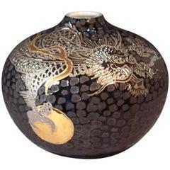Japanese Black Platinum Gold Porcelain Vase by Contemporary Master Artist