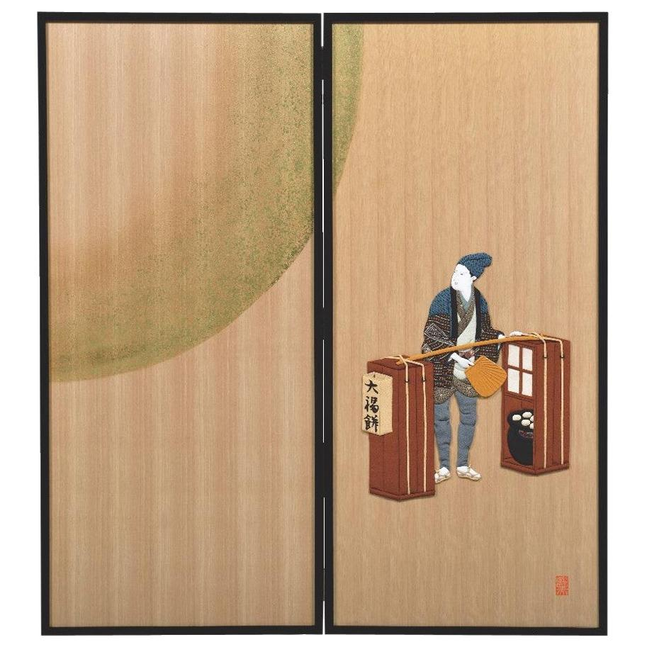 Contemporary Japanese Silk and Brocade Handcrafted Two Panel Folding Screen