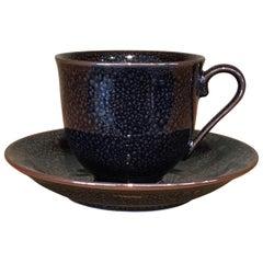 Japanese Black Silver Hand-Glazed Porcelain Cup and Saucer, Master Artist 2018