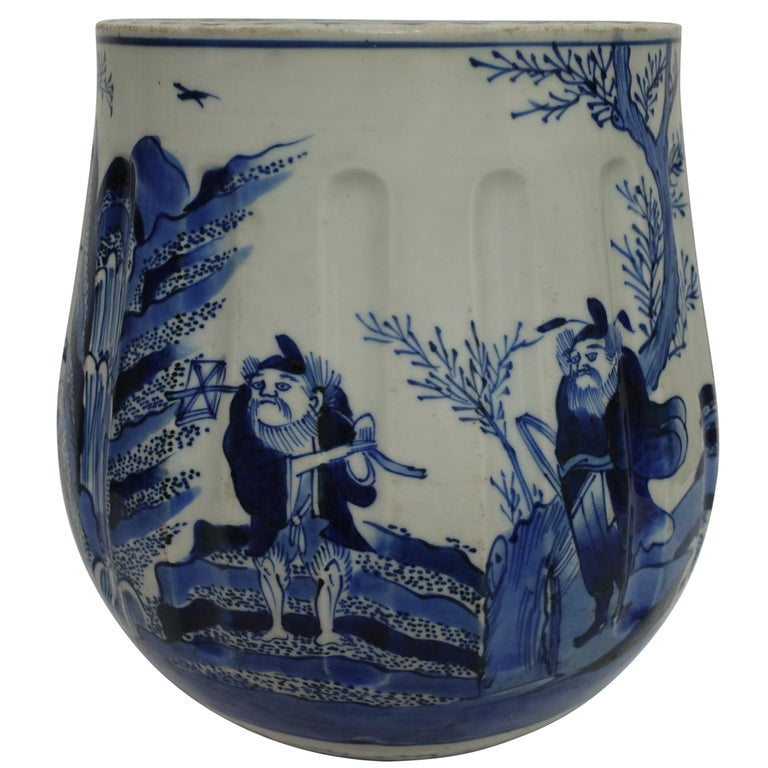 Japanese Blue and White Vase or Pot, 19th Century For Sale