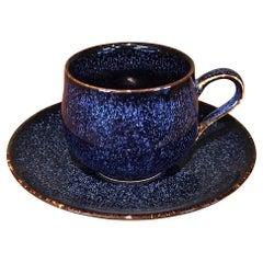 Japanese Blue Black Hand-Glazed Porcelain Cup and Saucer by Master Artist