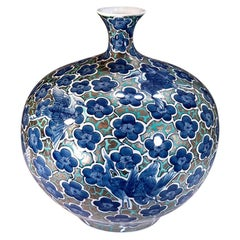 Japanese Blue Contemporary Gilded Imari Porcelain Vase by Master Artist