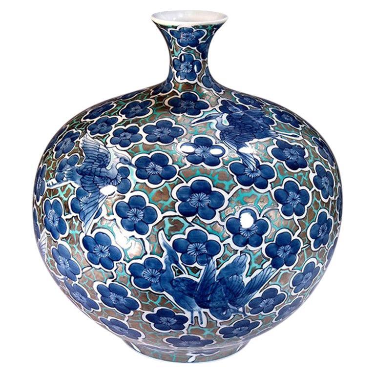 Japanese Blue Contemporary Gilded Imari Porcelain Vase by Master Artist For Sale