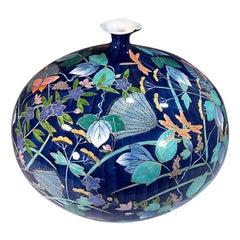 Japanese Blue Gilded Porcelain Vase by Contemporary Master Artist