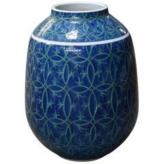 Blue Green Porcelain Vase by Japanese Master Artist