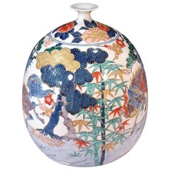 Japanese Blue, Green, Red and Gold Porcelain Vase by Contemporary Master Artist