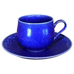 Japanese Blue Hand-Glazed Porcelain Cup and Saucer by Master Artist
