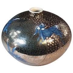 Japanese Blue Platinum-Gilded Porcelain Vase by Master Artist