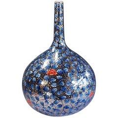 Japanese Blue Platinum Porcelain Vase by Contemporary Master Artist