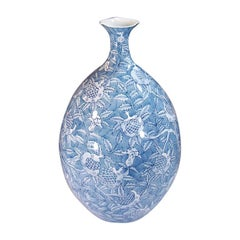 Japanese Blue Porcelain Vase by Master Artist