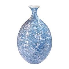 Japanese Blue Porcelain Vase by Contemporary Master Artist