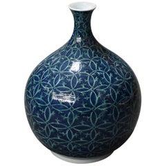 Japanese Blue Porcelain Vase by Master Artist