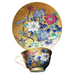 Japanese Gold Blue Red Porcelain Cup and Saucer by Contemporary Master Artist