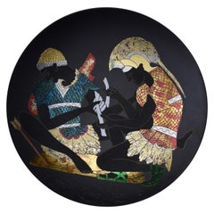 Japanese Blue Red Gold Porcelain Charger by Master Artist