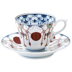 Japanese Blue Red White Hand Painted Porcelain Cup and Saucer