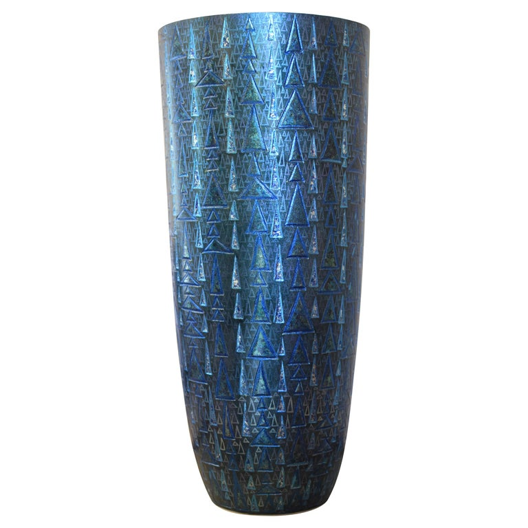 Japanese Blue Silver Etched Porcelain Vase by Japanese Master Artist For Sale