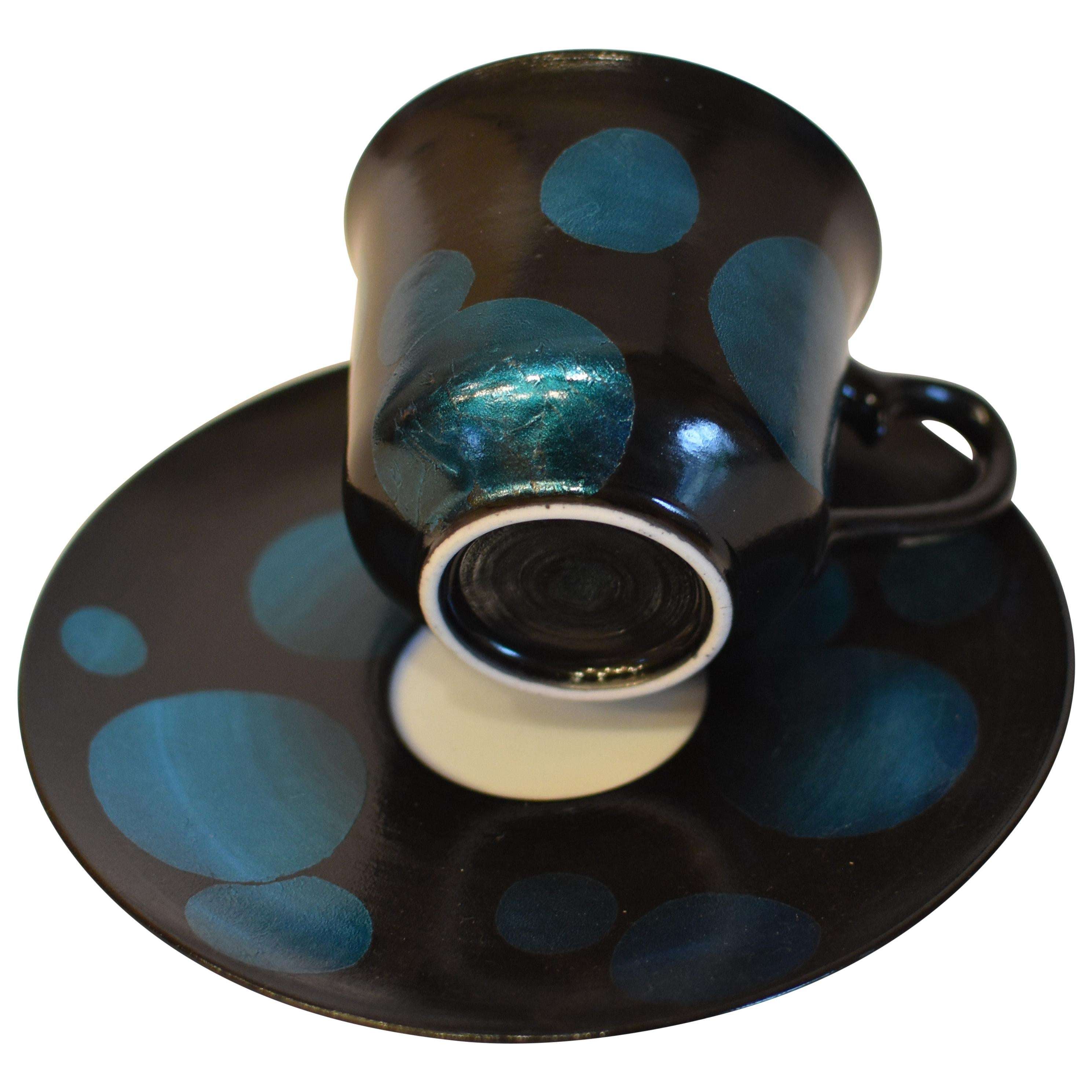 Japanese Blue Silver Leaf Porcelain Cup and Saucer by Master Artist