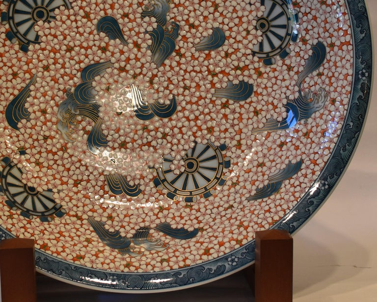 Gilt Red Blue White Charger by Japanese Contemporary Master Artist For Sale
