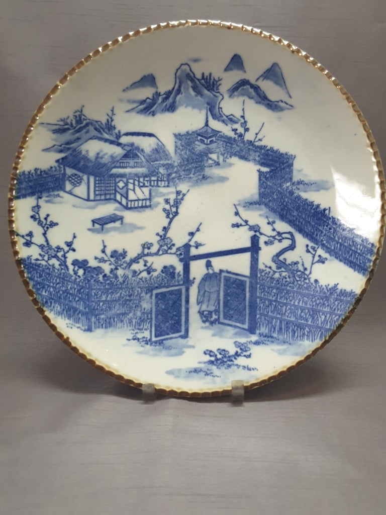 Meiji Japanese Blue & White Charger, Compound/Home Scene, 19th-Early 20th Century  For Sale