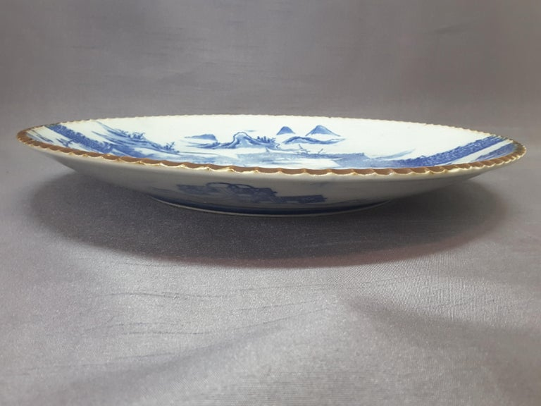 Porcelain Japanese Blue & White Charger, Compound/Home Scene, 19th-Early 20th Century  For Sale