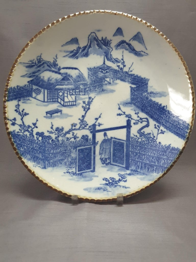 Japanese Blue & White Charger, Compound/Home Scene, 19th-Early 20th Century  For Sale 2
