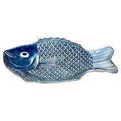 Japanese Blue & White Fish Plate by Fukagawa, Smaller