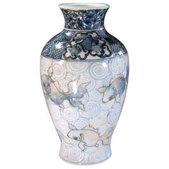 Japanese Blue White Gold Porcelain Vase by Contemporary Master Artist