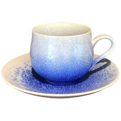 Japanese Blue White Hand-Glazed Porcelain Cup and Saucer by Master Artist