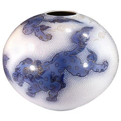 Japanese Blue White Porcelain Vase by Contemporary Master Artist
