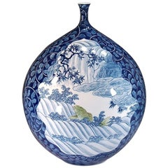 Japanese Porcelain Vase Blue by Contemporary Master Artist