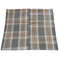 "Japanese ""Boro"" Plaid Tan and Orange Cotton Textile"