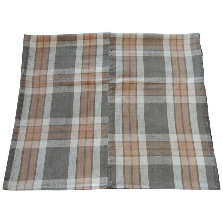 "Japanese ""Boro"" Plaid Tan and Orange Cotton Textile For Sale"
