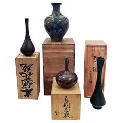 Japanese Brass Ikebana Vases, Early 20th Century