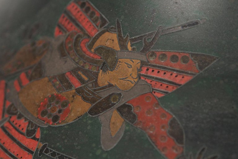 Japanese Brass Inlaid Meiji Period Bowl Depicting Samurai Warriors 1