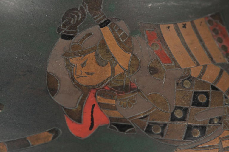 Japanese Brass Inlaid Meiji Period Bowl Depicting Samurai Warriors 2