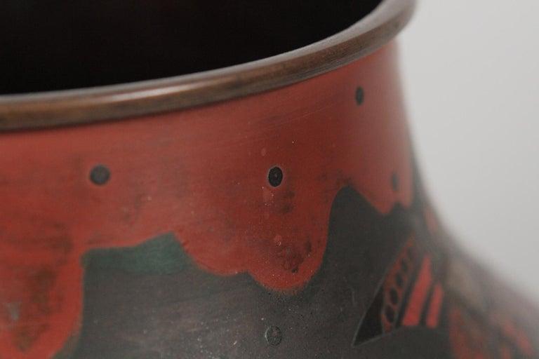 Japanese Brass Inlaid Meiji Period Bowl Depicting Samurai Warriors 3