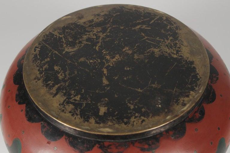 Japanese Brass Inlaid Meiji Period Bowl Depicting Samurai Warriors 4