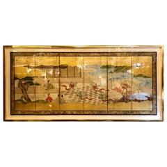Japanese Brilliant Silk Gilt Screen Six-Panel Under Glass Gold Framed