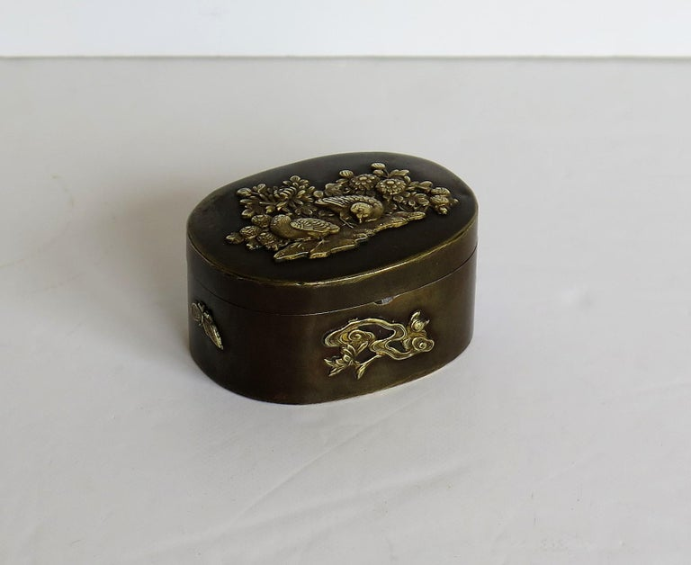 Japanese Bronze and Brass Embossed Small Lidded Box, 19th Century Meiji Period For Sale 6