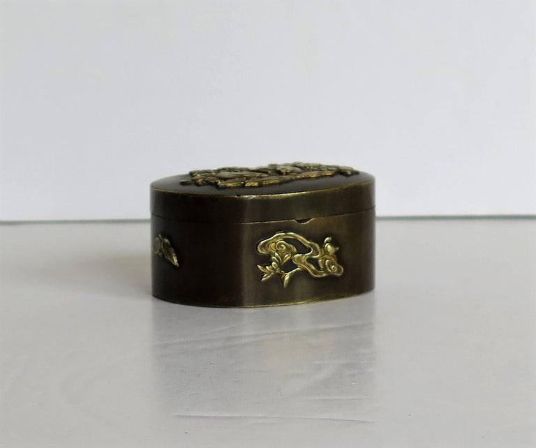 Japanese Bronze and Brass Embossed Small Lidded Box, 19th Century Meiji Period For Sale 7