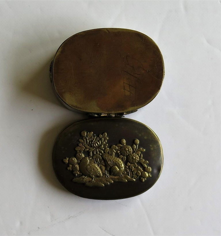 Japanese Bronze and Brass Embossed Small Lidded Box, 19th Century Meiji Period For Sale 12
