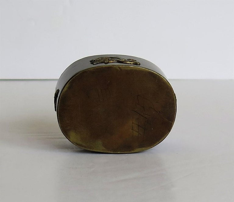 Japanese Bronze and Brass Embossed Small Lidded Box, 19th Century Meiji Period For Sale 14
