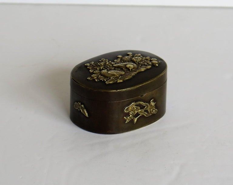 Hand-Crafted Japanese Bronze and Brass Embossed Small Lidded Box, 19th Century Meiji Period For Sale