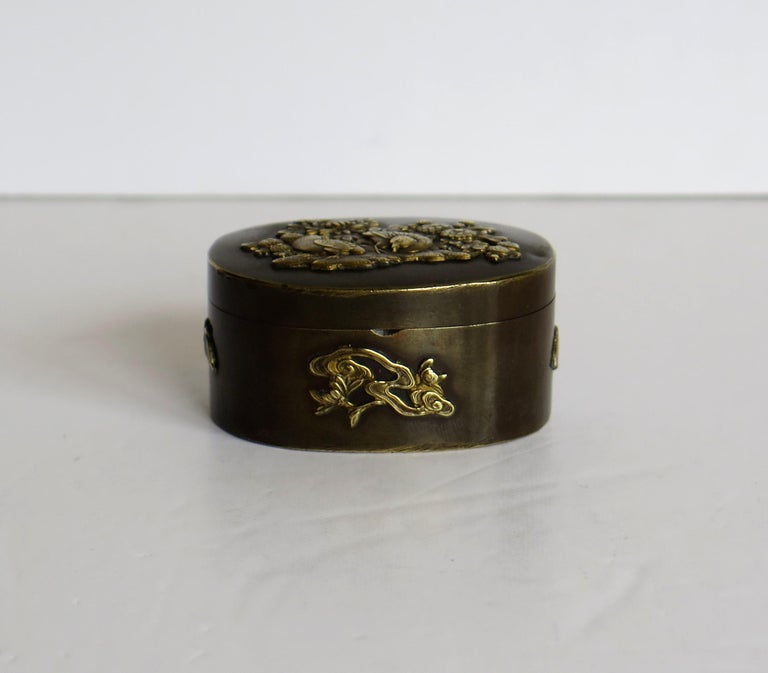 Japanese Bronze and Brass Embossed Small Lidded Box, 19th Century Meiji Period For Sale 1