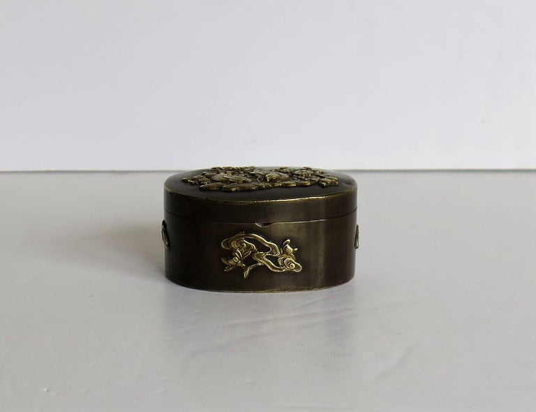 Japanese Bronze and Brass Embossed Small Lidded Box, 19th Century Meiji Period For Sale 2