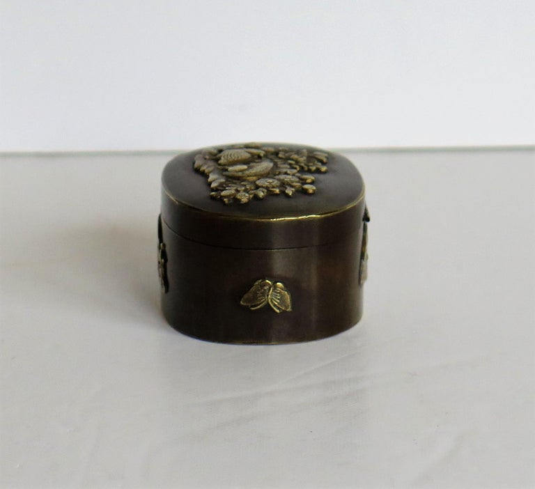 Japanese Bronze and Brass Embossed Small Lidded Box, 19th Century Meiji Period For Sale 3